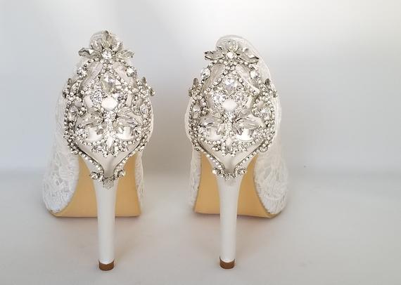 Lace Wedding Shoes Crystal Back Design Lace Bridal Shoes Lace | Et