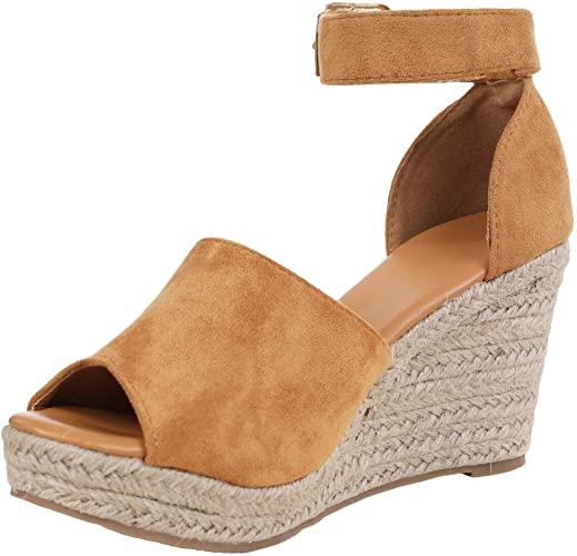 Amazon.com | Ferbia Wedges Shoes for Women Espadrilles Heels Ankle .