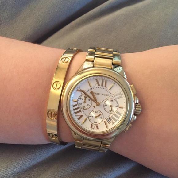 Michael Kors Accessories | Gold And White Face Watch | Poshma