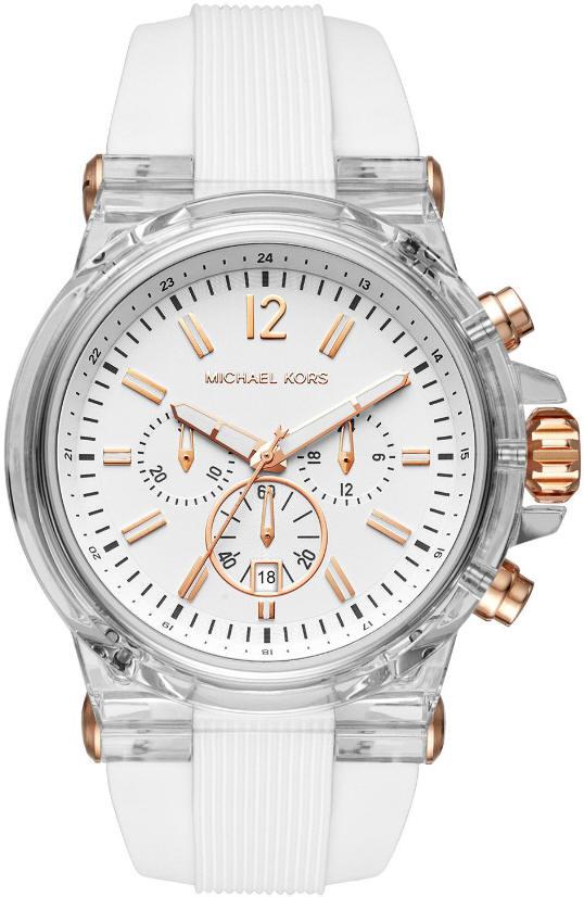 Men's Michael Kors Dylan White Silicone Strap Chronograph Watch .