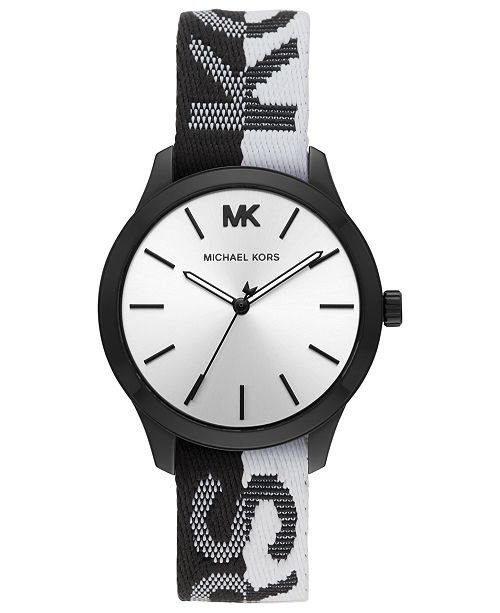 Michael Kors Women's Runway Black & White Nylon Strap Watch .