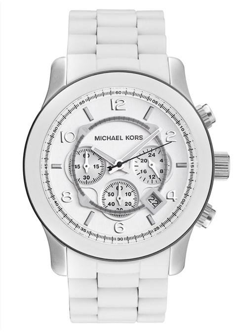 Michael Kors Oversized Runway White PU Chrono Men's Watch | AEh
