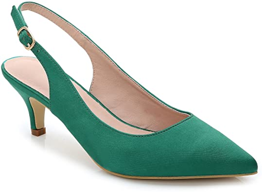 Amazon.com | ComeShun Womens Shoes Slingback Kitten Heels Closed .