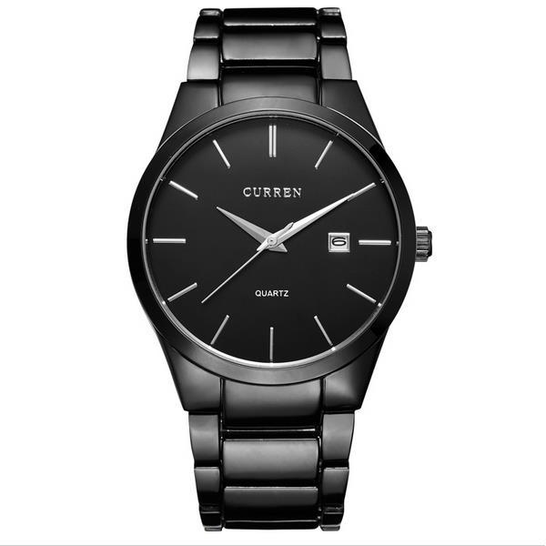 curren 8106 fashion black stainless steel round men quartz wrist .