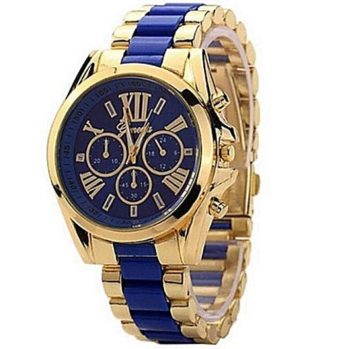 Geneva Full Steel Unisex Wrist Watch-Gold/Blue | Jumia Niger
