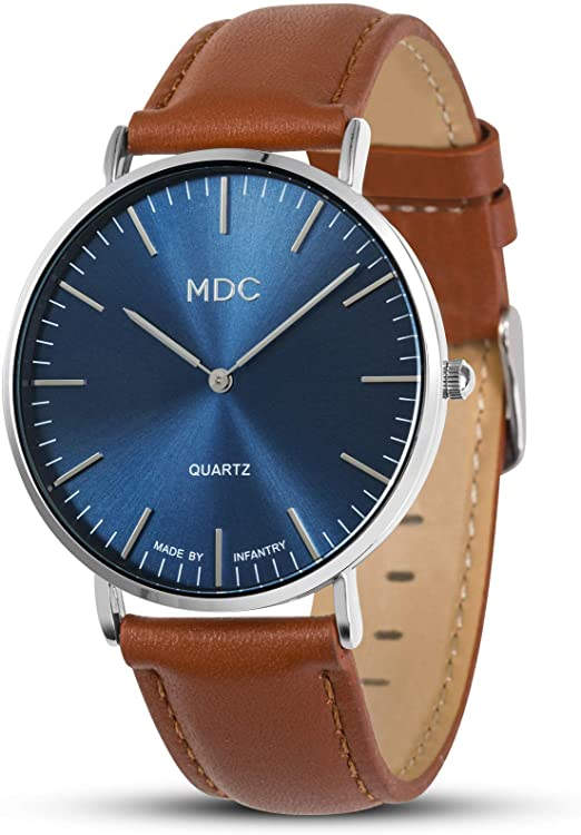 Amazon.com: MDC Mens Brown Leather Watch Minimalist Wrist Watches .