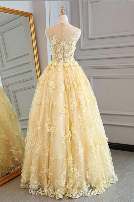 Chic Yellow Prom Dress Lace Vintage Cheap Long Prom Dress #ER4