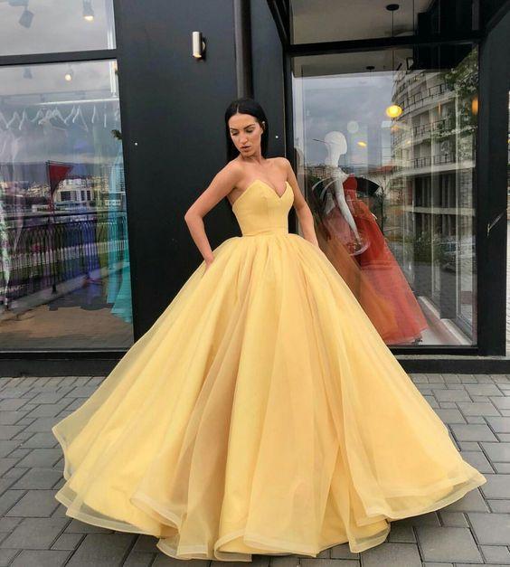 super a-line yellow prom dress,strapless long evening dress .