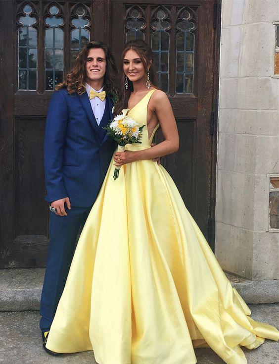 Yellow Prom Dress, 2018 Prom Dress, Elegant Party Dress, V Neck .