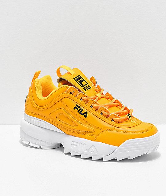 FILA Disruptor II Premium Yellow, White & Black Shoes | Zumi