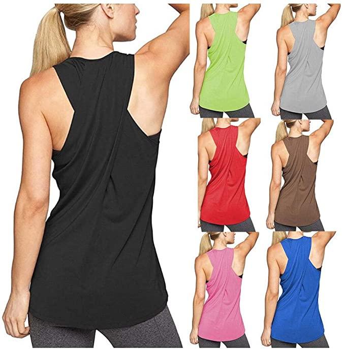 Women's Cross Back Yoga Shirt, Sleeveless Workout Tops Yoga .